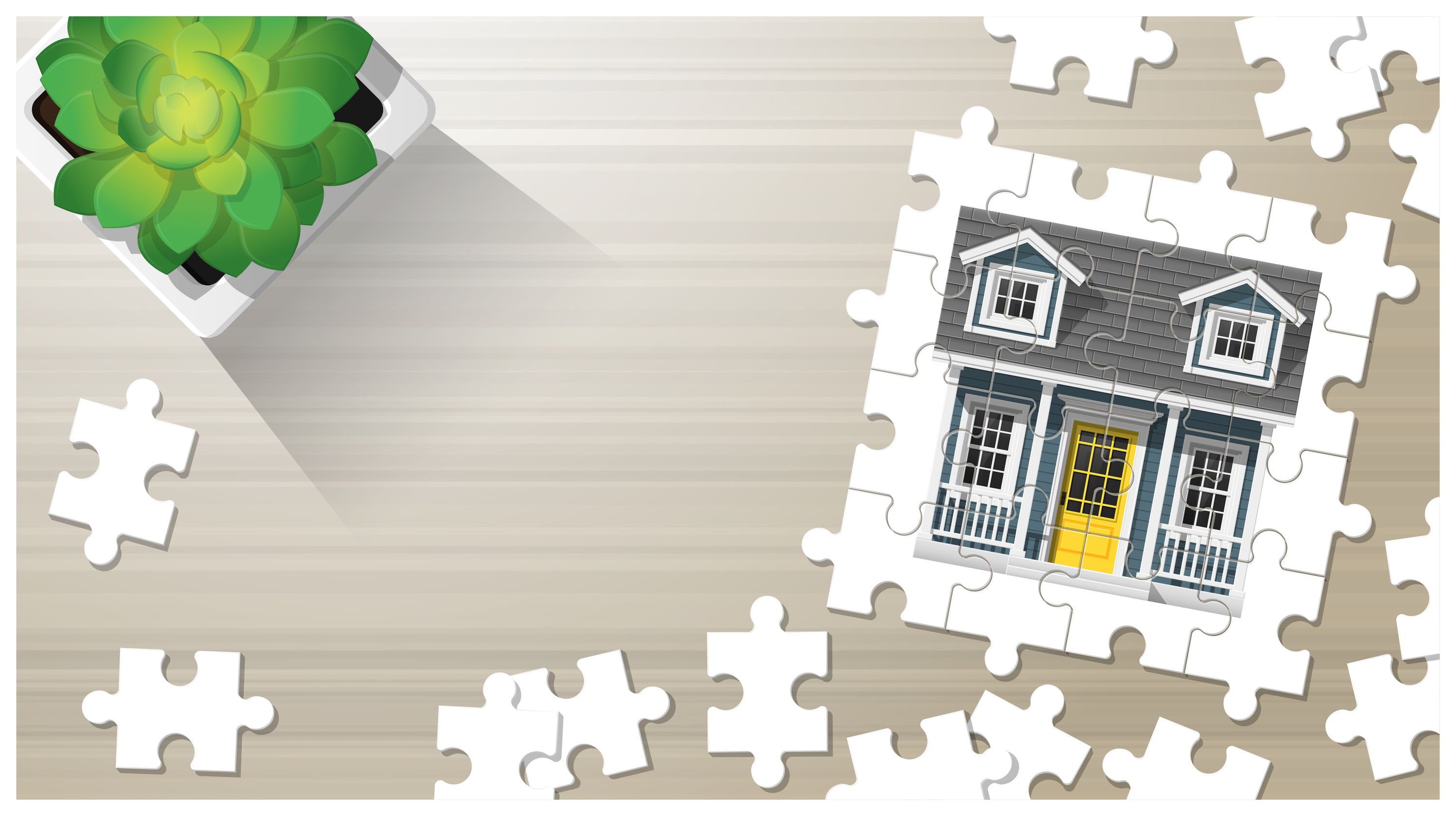 Dream house concept with puzzle house on wooden board background , vector , illustration